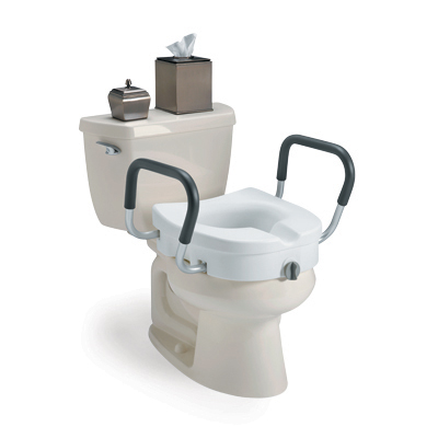 Image of toilet with decorative box of tissues on the tank and a plastic raised toilet seat with handles attached over the bowl.
