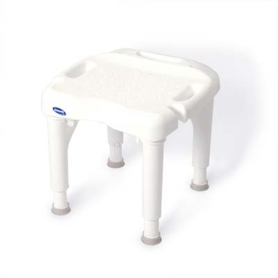 Image of white plastic shower chair with 4 adjustable legs with grey rubber-tipped feet. There is no back or handles on the chair.