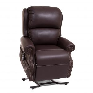 Image of coffee bean colored leather recliner with forward lift chair lift.