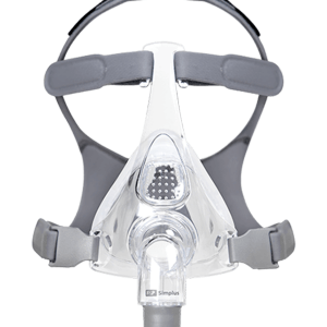 Image of CPAP full face mask with face cushions and grey head straps in place.